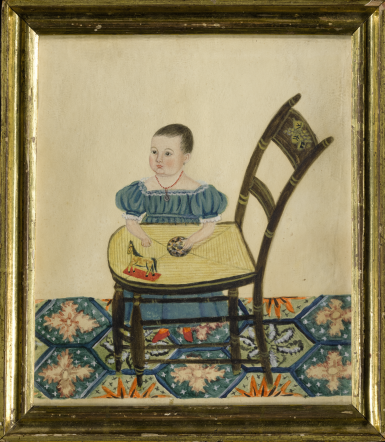 ATTRIBUTED TO SARAH GARDNER | PORTRAIT OF A CHILD IN A BLUE DRESS LEANING ON A FANCY CHAIR, WITH BALL AND HORSE TOY