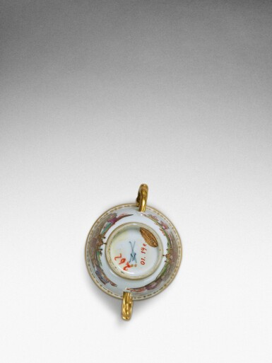 View 7. Thumbnail of Lot 92. An extremely rare Meissen armorial two-handled beaker from the service made for Elizabeth Farnese, Queen of Spain, Circa 1737 .