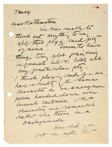 View 1. Thumbnail of Lot 202. M. ROTHENSTEIN   archive of c.95 letters by artists and writers to Rothenstein, chiefly 1940s.