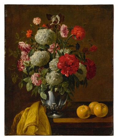 View 1. Thumbnail of Lot 537. FOLLOWER OF JAN FYT   STILL LIFE OF FLOWERS IN A SILVER VASE.