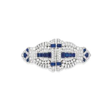 View 1. Thumbnail of Lot 603. SAPPHIRE AND DIAMOND DOUBLE CLIP-BROOCH | 藍寶石配鑽石別針.