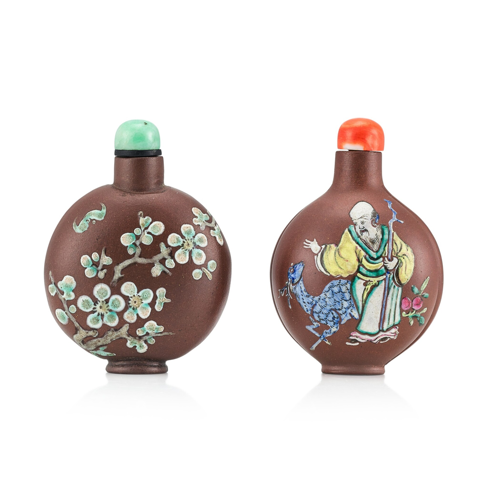 View 1 of Lot 3077. Two Yixing Slip-Decorated Snuff Bottles Qing Dynasty, 19th Century | 清十九世紀 宜興紫砂堆料加彩鼻煙壺兩件.
