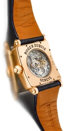 ROGER DUBUIS | GOLDEN SQUARE, REFERENCE G34 28 5 NG 1D.52,  A LIMITED EDITION PINK GOLD AND DIAMOND-SET SINGLE BUTTON CHRONOGRAPH WRISTWATCH WITH MOTHER-OF-PEARL DIAL, CIRCA 2006