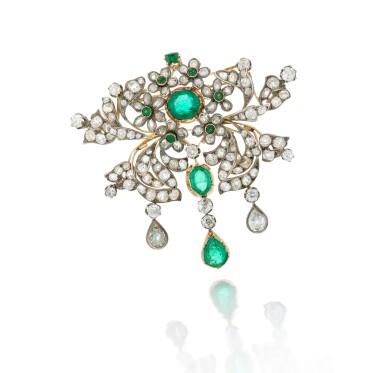 View 1. Thumbnail of Lot 6. Emerald and diamond pendant-necklace (Collana con pendente in smeraldi e diamanti), 1890.