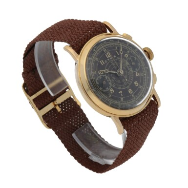 View 3. Thumbnail of Lot 431. YELLOW GOLD CHRONOGRAPH WRISTWATCH WITH TROPICAL DIAL CIRCA 1950.