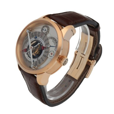 View 2. Thumbnail of Lot 27. INVENTION PIECE 1 REF GF02N LIMITED EDITION PINK GOLD DOUBLE TOURBILLON WRISTWATCH WITH POWER RESERVE INDICATION CIRCA 2008 [ Greubel Forsey GF02N型號「INVENTION PIECE 1」限量版粉紅金雙體陀飛輪腕錶備動力儲存顯示,年份約2008].