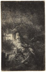 REMBRANDT HARMENSZ. VAN RIJN  |  THE REST ON THE FLIGHT INTO EGYPT: A NIGHT PIECE (B., HOLL. 57; NEW HOLL. 216; H. 208)