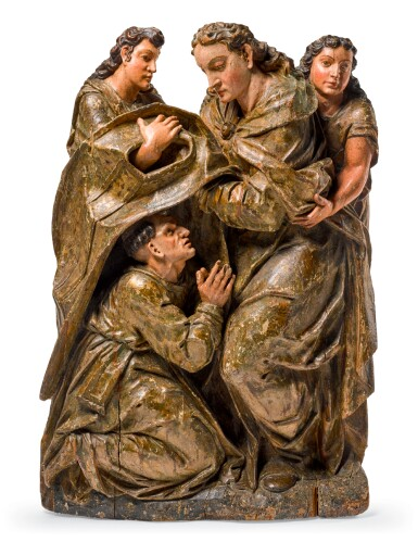 SPANISH, PROBABLY TOLEDO, LATE 16TH/ EARLY 17TH CENTURY | RELIEF WITH SAINT ILDEFONSUS VESTED BY THE VIRGIN