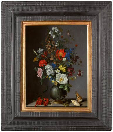 View 2. Thumbnail of Lot 19. Flowers in a vase on a stone ledge, with redcurrants and shells | 《靜物:石架上的瓶花、紅加侖子與貝殼》.