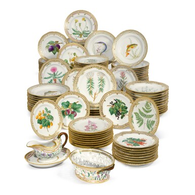 View 2. Thumbnail of Lot 956. TWELVE ROYAL COPENHAGEN 'FLORA DANICA' DINNER PLATES, LATE 19TH CENTURY AND LATER.