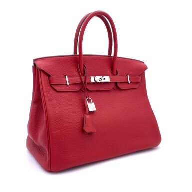 View 2. Thumbnail of Lot 723. HERMÈS   ROUGE GRENATE BIRKIN 35 IN TOURILLON CLEMENCE LEATHER WITH PALLADIUM HARDWARE, 2008.