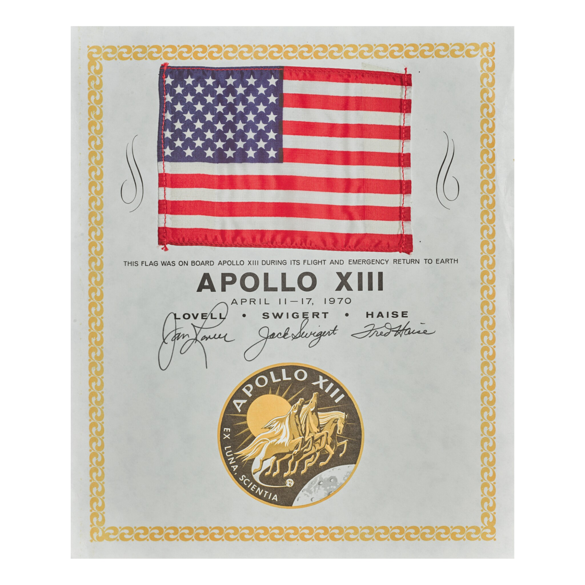 View full screen - View 1 of Lot 172. [APOLLO 13]. FLOWN ON APOLLO 13 STARS AND STRIPES, ON CERTIFICATE SIGNED BY THE ENTIRE CREW.