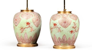 View 2. Thumbnail of Lot 19. A pair of Chinese porcelain and gilt-bronze vases, the porcelain 18th century, the mounts Louis XVI style .