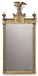 VERY FINE FEDERAL CARVED AND GILT-WOOD LOOKING GLASS, NEW YORK, CIRCA 1815