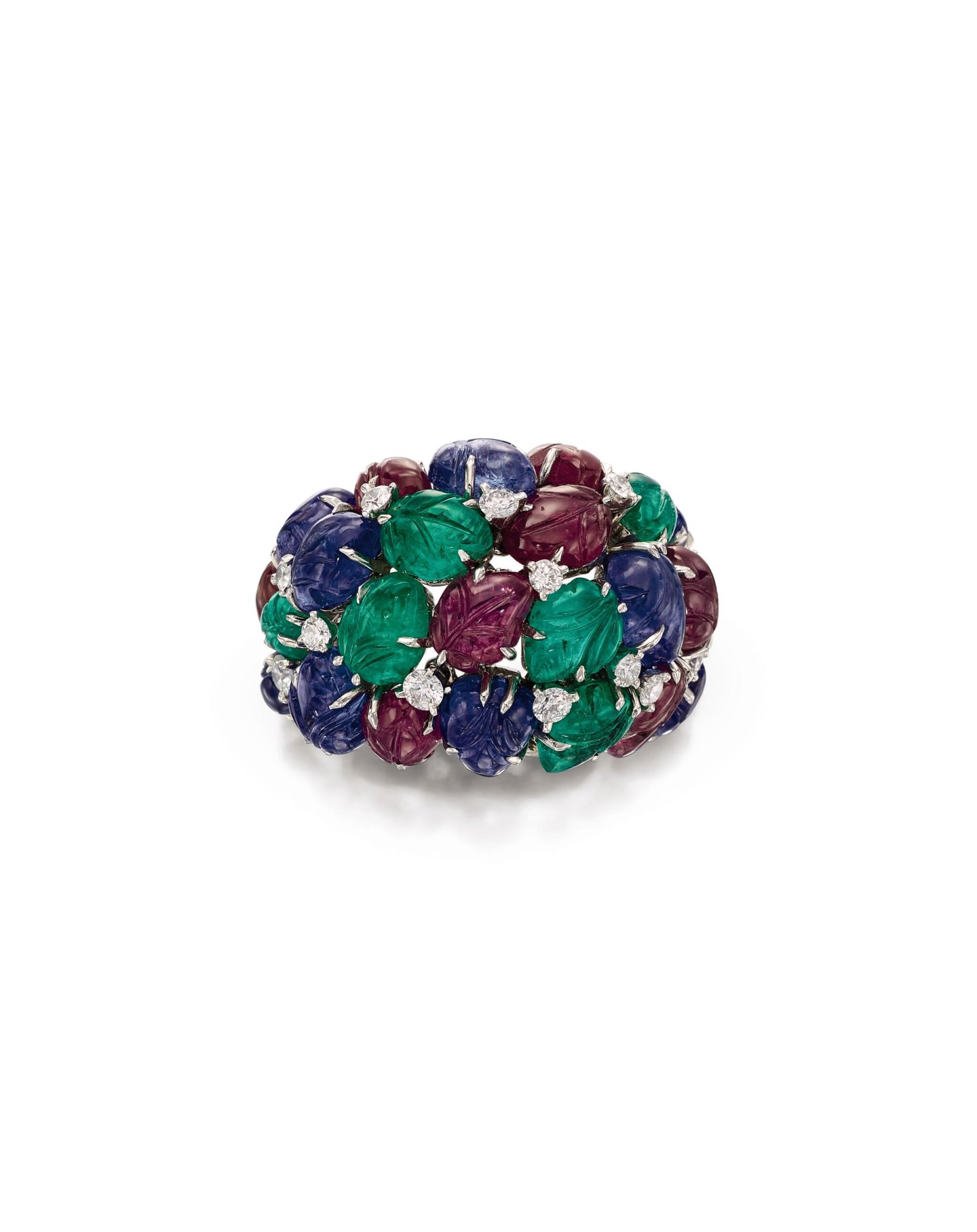 View full screen - View 1 of Lot 1658. Cartier | 'Tutti Frutti' Gem Set and Diamond Ring | 卡地亞 | 「水果錦囊」 寶石 配 鑽石 戒指.