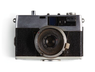 View 3. Thumbnail of Lot 13. THE BEATLES   Ronson cigarette lighter; Petri Half 7 Camera & Solid State DC3 Flash; leather writing case & small case.