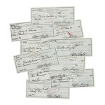 ALFRED STIEGLITZ   10 CHECKS, EACH SIGNED BY ALFRED STIEGLITZ AND ENDORSED BY THE VARYING RECIPIENTS, NEW YORK, 1944–1946