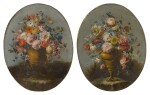 A pair of still lifes of roses, anemones, and other flowers in bronze urns, resting on stone ledges