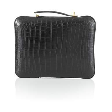 View 2. Thumbnail of Lot 143. Black Petit H Crocodile Tablet Bag.