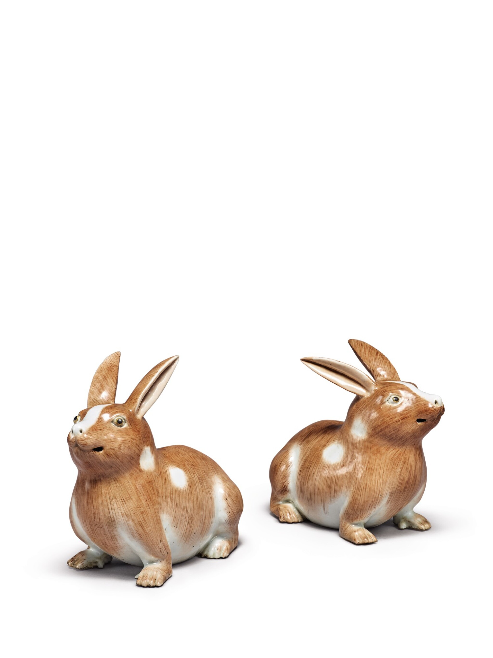 View full screen - View 1 of Lot 203. A PAIR OF CHINESE EXPORT FIGURES OF RABBITS 19TH/20TH CENTURY.