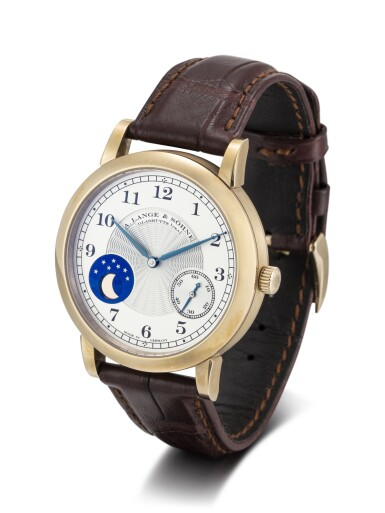 View 2. Thumbnail of Lot 62. A. LANGE & SÖHNE | 1815 HOMAGE TO F.A LANGE 1815 MOONPHASE, REFERENCE 212.050, A LIMITED EDITION HONEY GOLD WRISTWATCH WITH HACKING FEATURE AND MOON PHASES, MADE TO COMMEMORATE THE 165TH ANNIVERSARY OF A. LANGE & SÖHNE IN 2010, CIRCA 2011.
