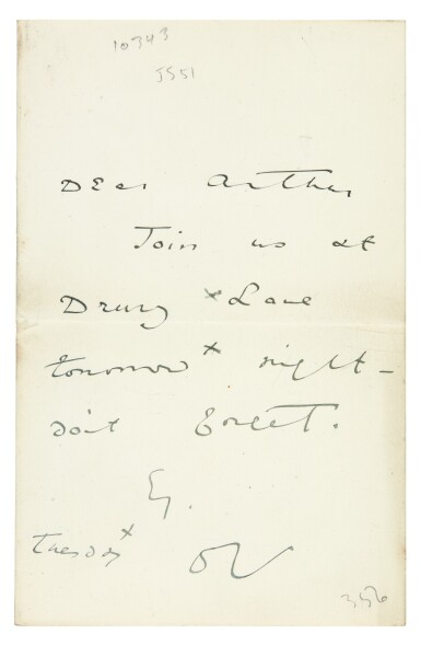 View 1. Thumbnail of Lot 172. WILDE   autograph letter signed, to Arthur Clifton, n.d..