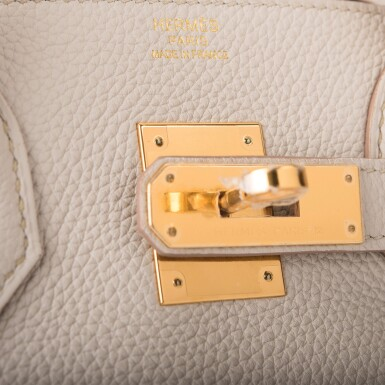 View 7. Thumbnail of Lot 5. Hermès Beton Birkin 30cm of Togo Leather with Gold Hardware.