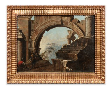 View 2. Thumbnail of Lot 149. A Landscape with ruins and figures .