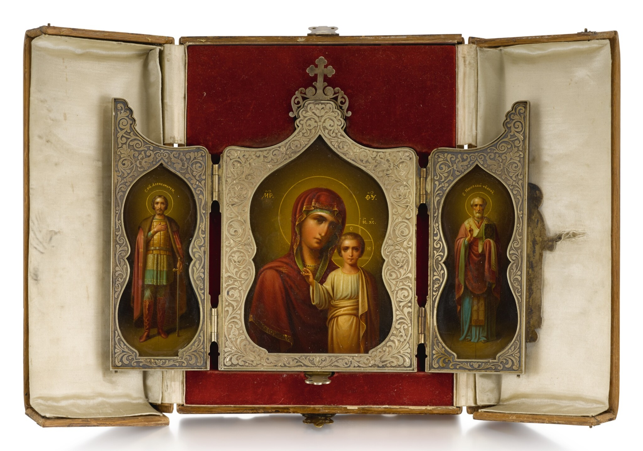 View full screen - View 1 of Lot 507. A SILVER-GILT TRIPTYCH ICON, MAKER'S MARK DS (CYRIILIC), MOSCOW, 1899-1908.