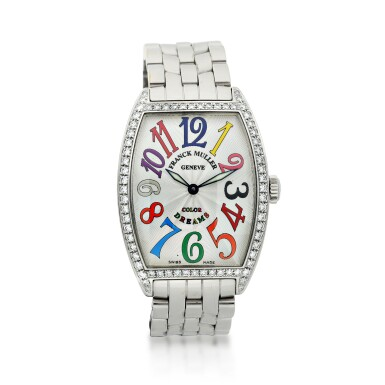 FRANCK MULLER | REFERENCE 2852 QZ CINTRÉE CURVEX 'COLOR DREAMS'  A STAINLESS STEEL AND DIAMOND-SET TONNEAU-SHAPED AUTOMATIC WRISTWATCH WITH DATE, CIRCA 2018