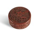 AN IMPERIAL CARVED CINNABAR LACQUER BOX AND COVER, QIANLONG MARK AND PERIOD | 清乾隆 剔紅赤壁寶盒 《赤壁寶盒》、《大清乾隆年製》款