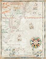 PORTULAN -- Joan MARTINES [?]. Carte portulan de la côte atlantique de l'Amérique du Sud. Messine, ca 1570-1591.