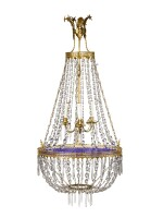 A NORTHERN EUROPEAN NEOCLASSICAL GILT BRONZE, BLUE GLASS, AND CUT CRYSTAL THREE LIGHT CHANDELIER, 19TH CENTURY