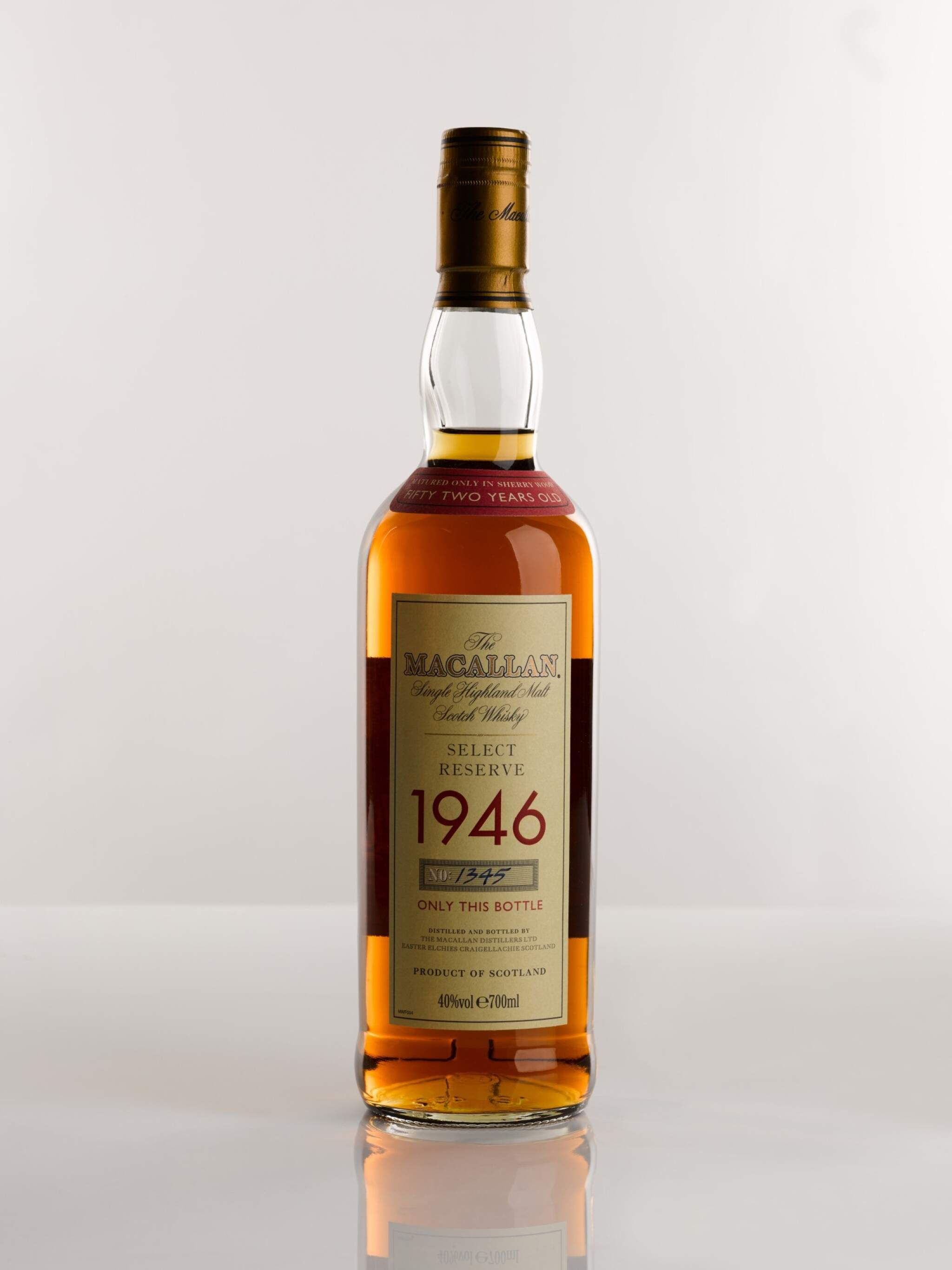 View full screen - View 1 of Lot 5. THE MACALLAN SELECT RESERVE 52 YEARS OLD 1946.