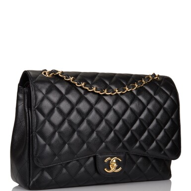 View 2. Thumbnail of Lot 60. Chanel Quilted Maxi Classic Double Flap Bag of Black Caviar Leather with Gold Hardware.