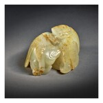 AN EXCEPTIONAL AND RARE WHITE AND RUSSET JADE 'MYTHICAL BEAST' CARVING , QING DYNASTY, QIANLONG PERIOD
