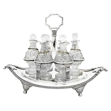 View 2. Thumbnail of Lot 264. A GEORGE III SILVER CRUET SET, WILLIAM BURWASH AND RICHARD SIBLEY, LONDON, 1808.