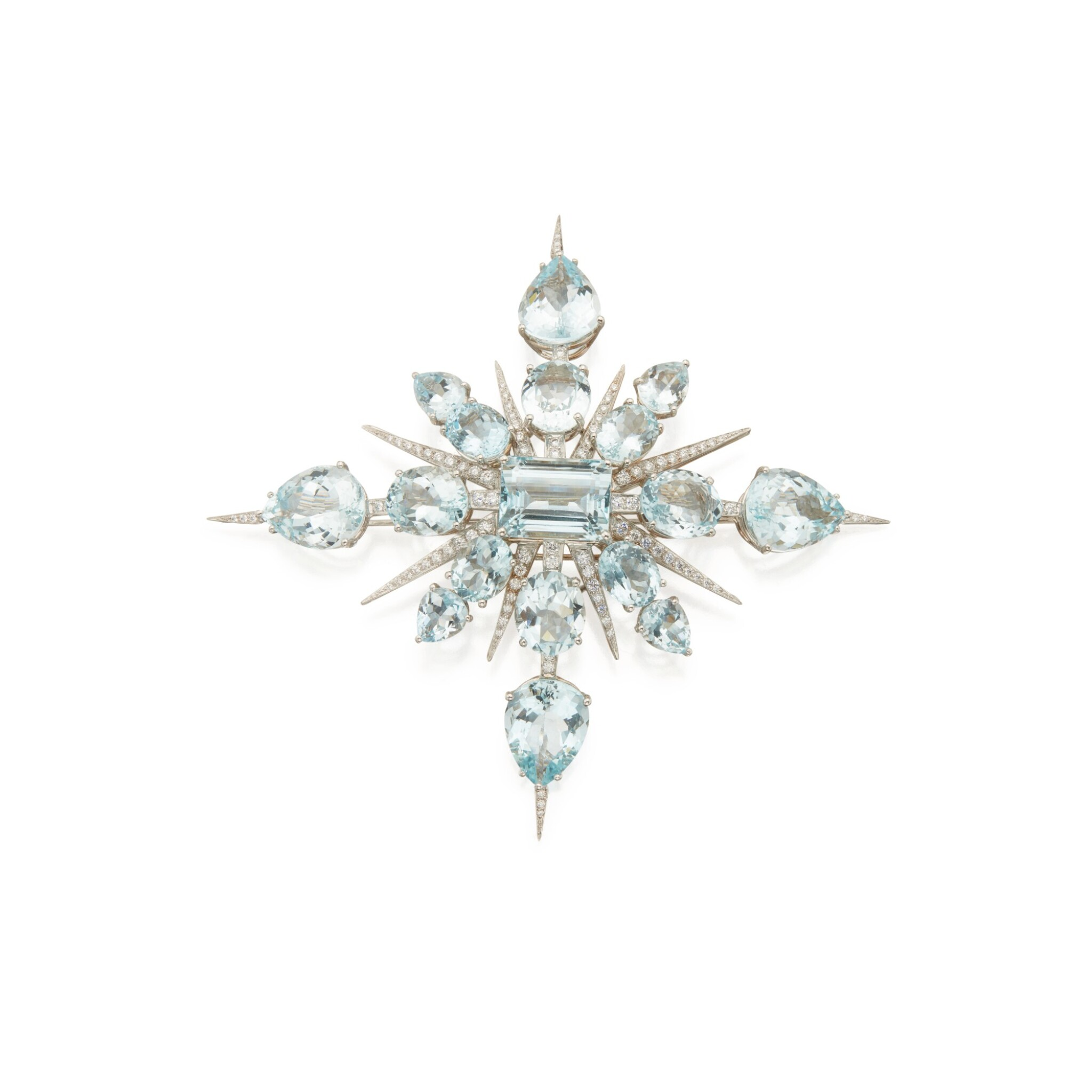 View 1 of Lot 339. Tony Duquette | Aquamarine and Diamond 'Star' Brooch.