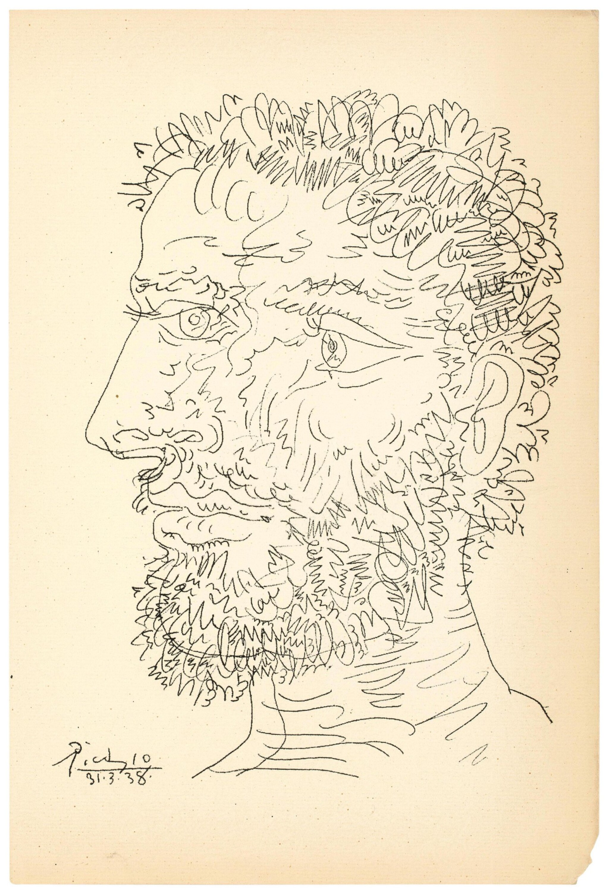 View full screen - View 1 of Lot 130. PABLO PICASSO  |  PROFIL D'HOMME BARBU (B. 1830; BA. 727).