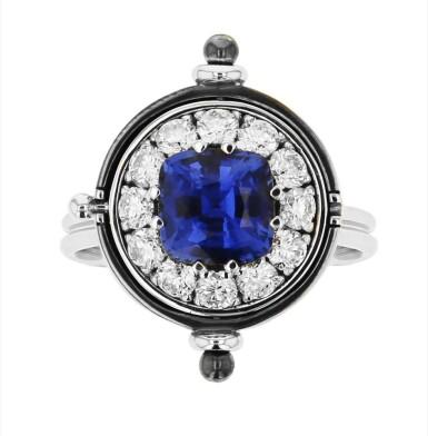 View 2. Thumbnail of Lot 3. Elie Top, Sapphire and Diamond Ring [Bague Saphir et Diamants], 'Sirius'.