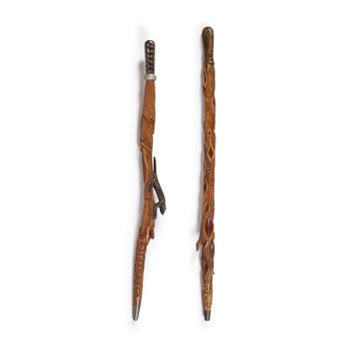 TWO EXCEPTIONAL CARVED WILLOW WALKING STICKS, MICHAEL CRIBBINS (1837-1917), LAKE ORION, MICHIGAN, CIRCA 1900