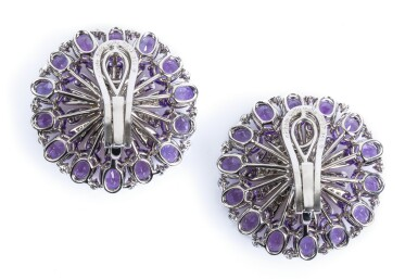 View 5. Thumbnail of Lot 67. Pair of amethyst, citrine and diamond ear clips, Michele della Valle.