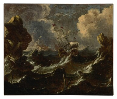 Frigates in a storm off a rocky coast