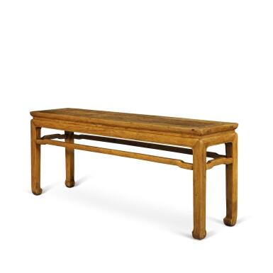 View 3. Thumbnail of Lot 112. A 'huanghuali' corner-leg bench (Errendeng), Qing dynasty, 18th century | 清十八世紀 黃花梨有束腰羅鍋棖馬蹄足貳人凳.