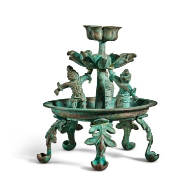 View 1. Thumbnail of Lot 101. A bronze oil lamp, Tang dynasty | 唐 銅天王花式五足燈.