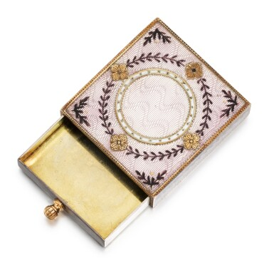 View 2. Thumbnail of Lot 12. A Fabergé silver-gilt, gold and guilloché enamel eraser holder, Moscow, circa 1890.