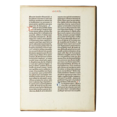 View 1. Thumbnail of Lot 101. BIBLE IN LATIN | A leaf from the Gutenberg Bible. [Mainz: Johann Gutenberg and Johann Fust, 1455].