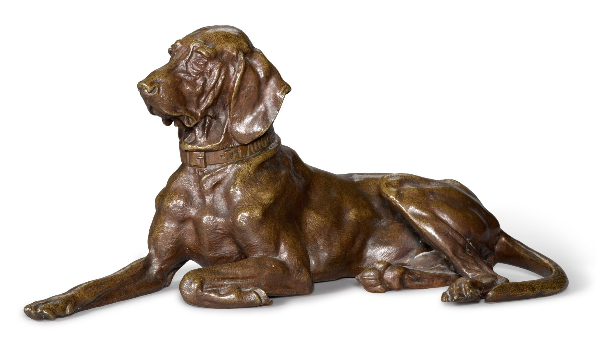 View full screen - View 1 of Lot 295. Pointer Dog Resting: A bronze figure, cast by Woerffel, after the model by Nikolai Lieberich (1828-1883).