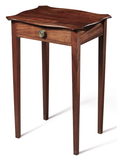 VERY FINE CHIPPENDALE FIGURED MAHOGANY SERPENTINE-TOP WORK TABLE, MASSACHUSETTS, CIRCA 1790
