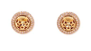 View 4. Thumbnail of Lot 1013. Pair of Diamond Earrings | 格拉夫| 1.01及1.00克拉 圓形 E色 鑽石 耳環一對 (小鑽石共重約1.60克拉).